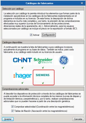 CYPELEC REBT. Características técnicas por catálogo. Productos SIEMENS